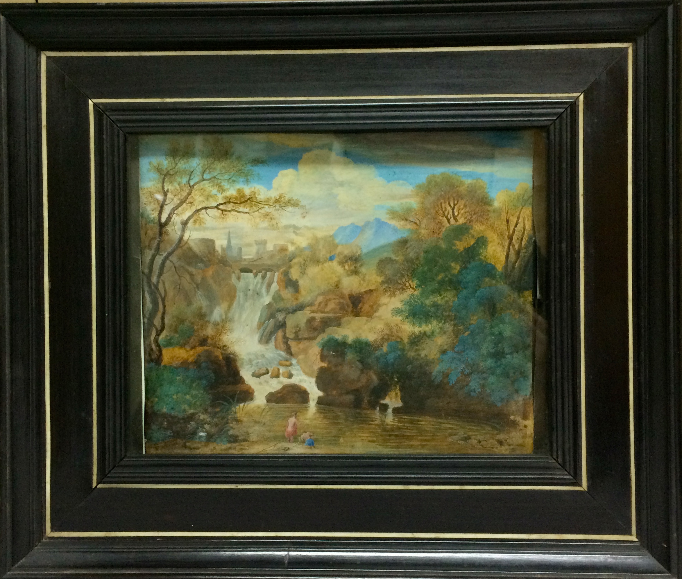 Artworks miniature painting on parchment by vanvitelli of the waterfall at tivoli in a period ebony frame inlaid with bone italian circa 1700 jeuxipadfo Images