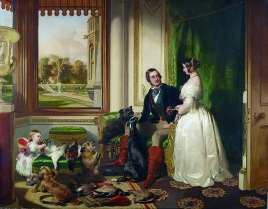 ROC399178 Windsor Castle in modern time; Queen Victoria, Prince Albert and Victoria, Princess Royal, 1840-43 (oil on canvas) by Landseer, Edwin (1802-73); 113.3x144.5 cm; Royal Collection Trust © Her Majesty Queen Elizabeth II, 2016; (add.info.: Queen Victoria (1819-1901) Queen Regnant, and Prince Albert (1819-61); Princess Victoria (1840-1901); set in the White Drawing Room at Windsor; a view of the East Terrace, upon which Queen Victoria's mother, the Duchess of Kent, is seen enjoying a circuit in a bath chair;); REPRODUCTION PERMISSION REQUIRED; English, out of copyright PLEASE NOTE: Bridgeman Images works with the owner of this image to clear permission. If you wish to reproduce this image, please inform us so we can clear permission for you.